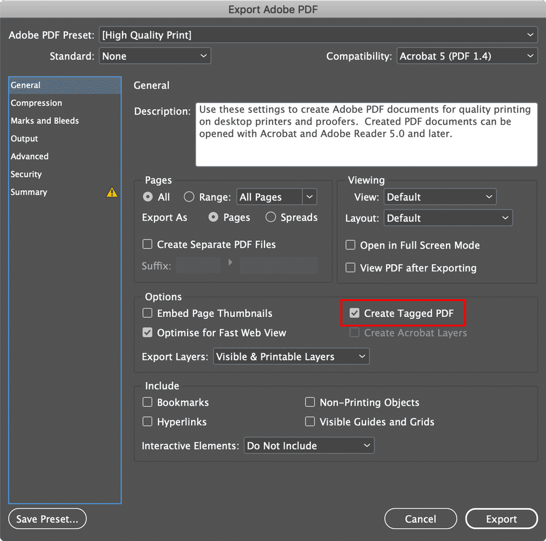 Screenshot of export options with the PDF print format.